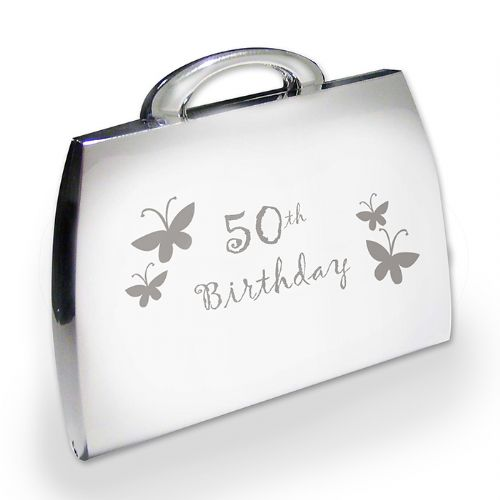 Personalised 50th Butterfly Handbag Compact
